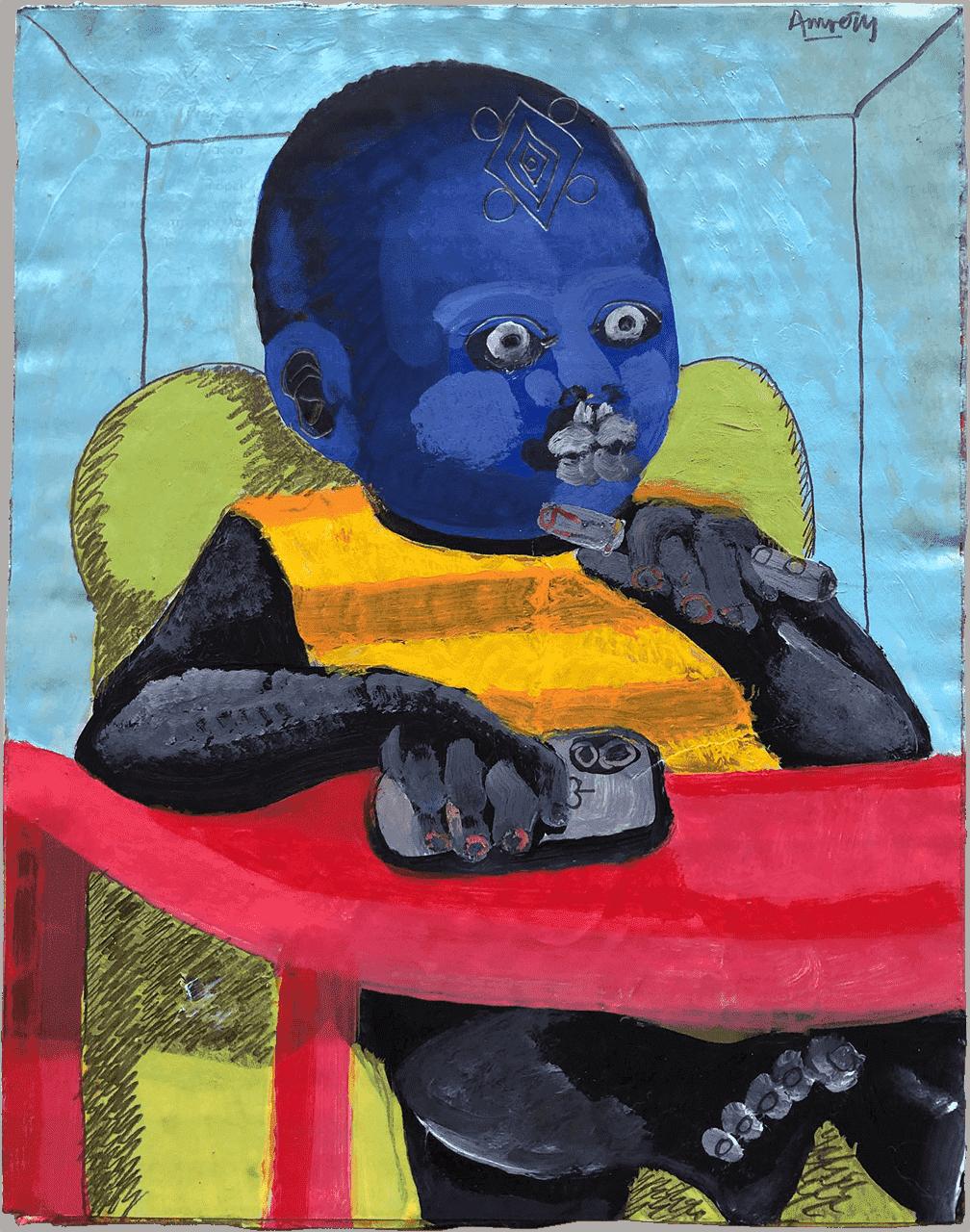 Stop procrastinating and get to work you Big Baby, ακρυλικό και μολύβι σε χαρτί, 22Χ17 εκ.