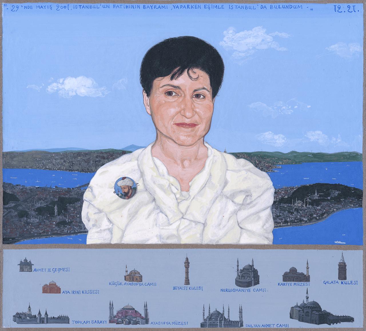 Πορτραίτο Ε.Χ. στην Κωνσταντινούπολη, 2001, τέμπερα σε χαρτόνι, 22x24 εκ.