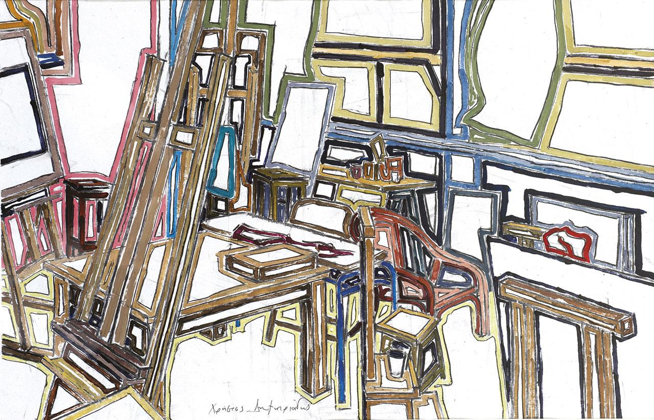 Χωρίς τίτλο, 2012, πλαστικό χρώμα σε χαρτί, 42x61 εκ.