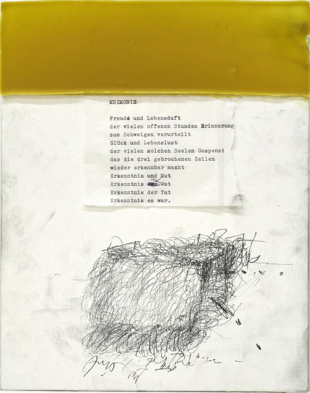 Atem Speicher 2, 2016, bees wax, graphite, paper collage, type writer, on canvas board, 29x23 εκ