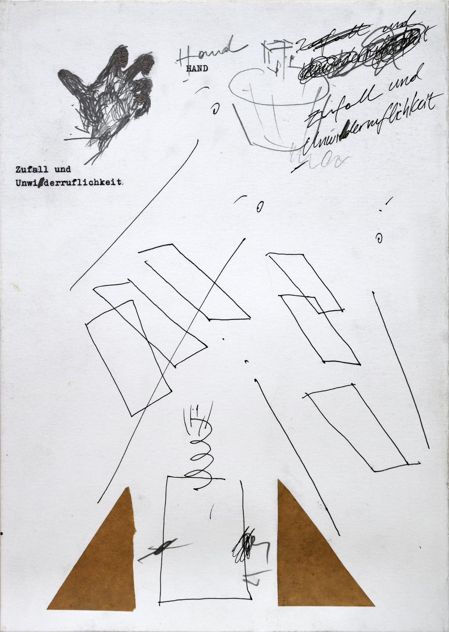 VasFragili 9, 2018, graphite, ink, wax pastels, tape collage, type writer, on paper, 29x21 εκ.