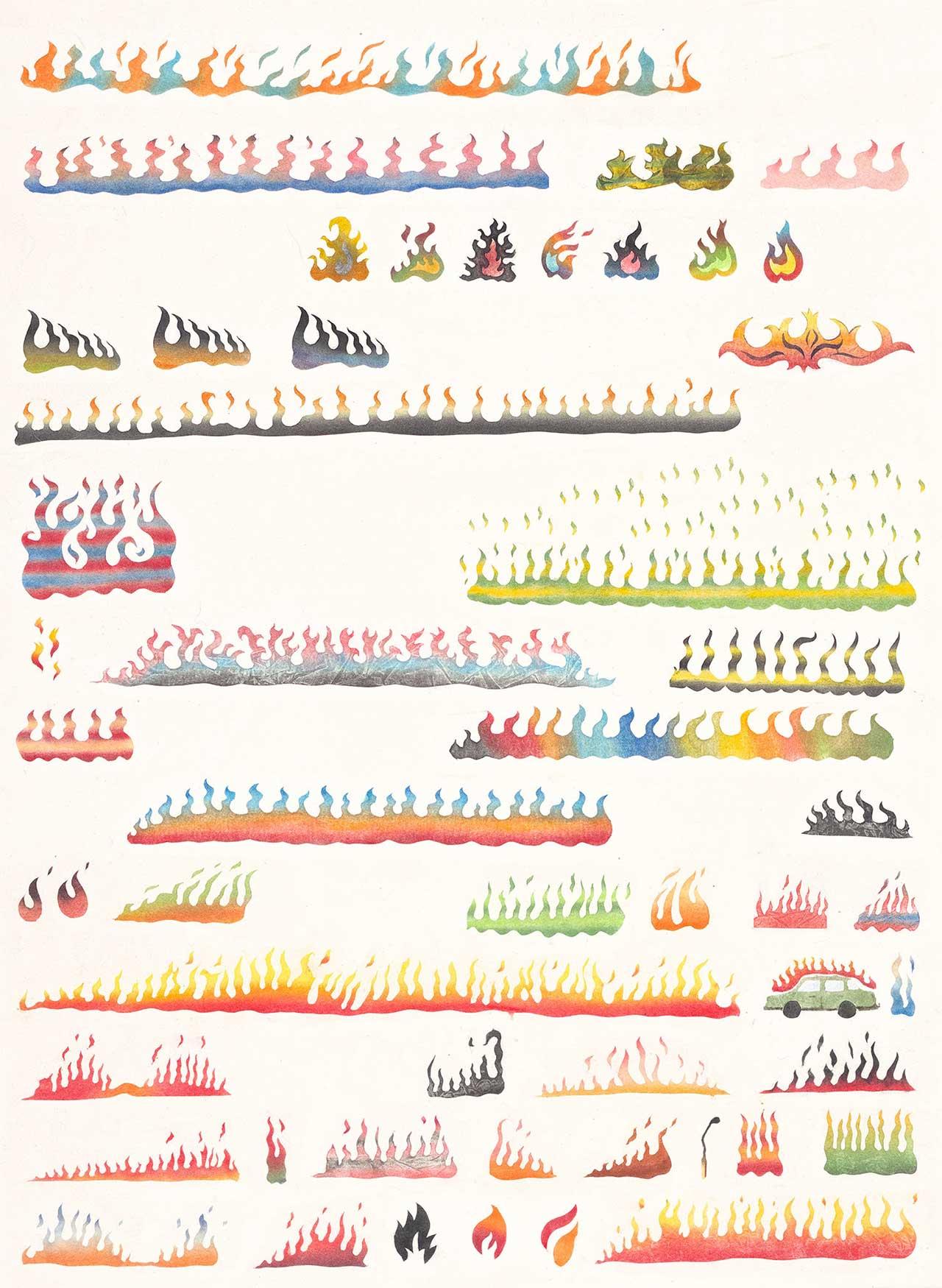 53 types of fire, 2020, χρώματα σκόνη σε χαρτί, 80Χ60 εκ.
