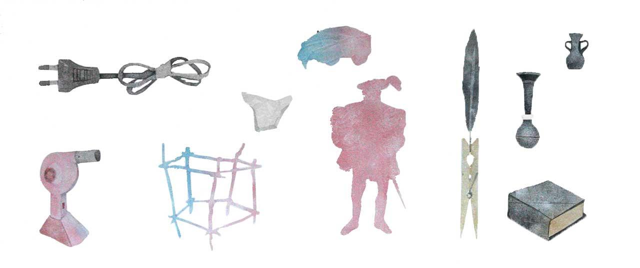 Collected Objects, 2016, σχέδιο, χρώματα σκόνη σε χαρτί. 22Χ50 εκ.