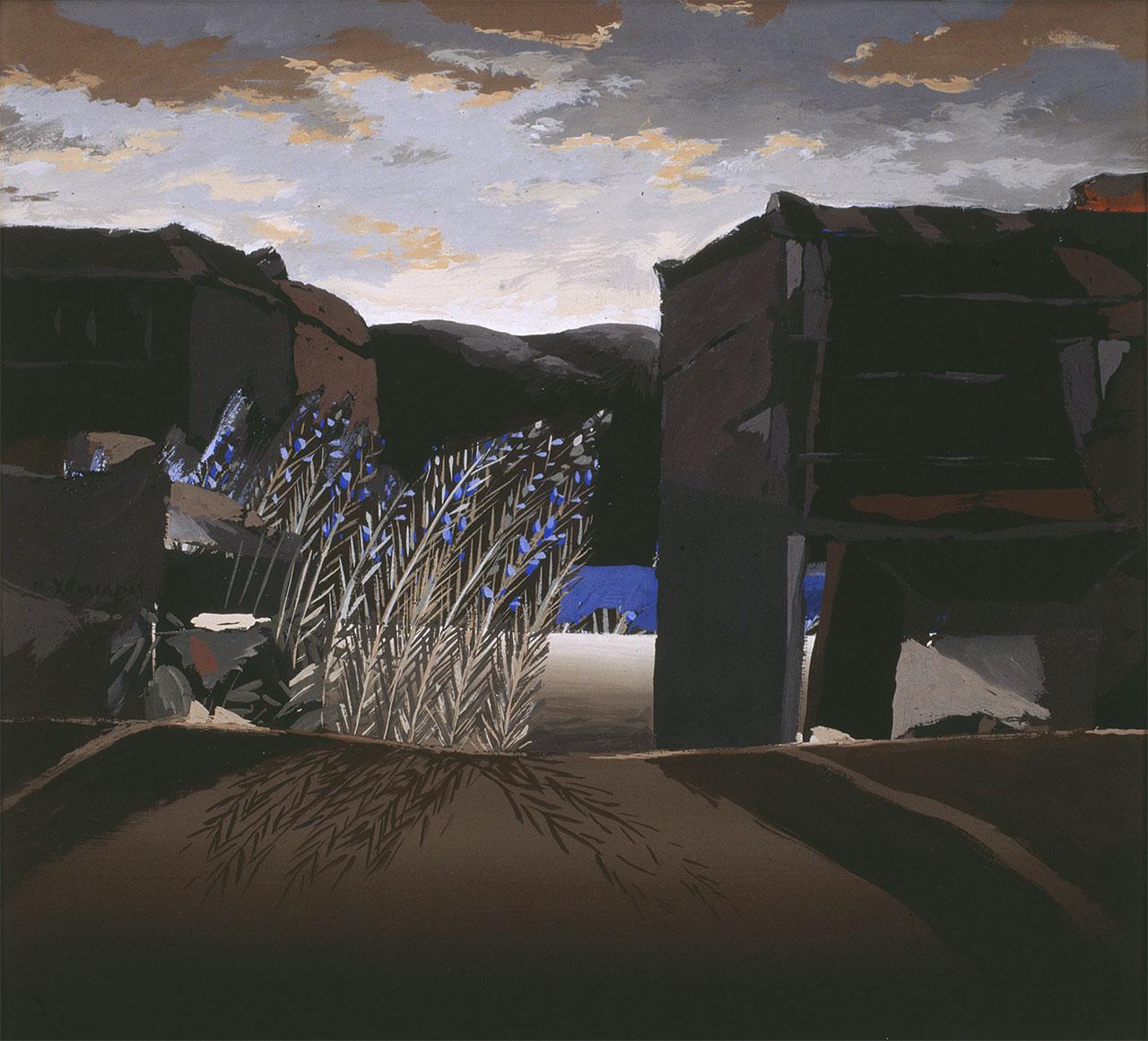 Χωρίς τίτλο (από τη σειρά: Ακατοίκητος τόπος του νου), περίπου 1972, ακρυλικό σε χαρτόνι, 42x46 εκ.