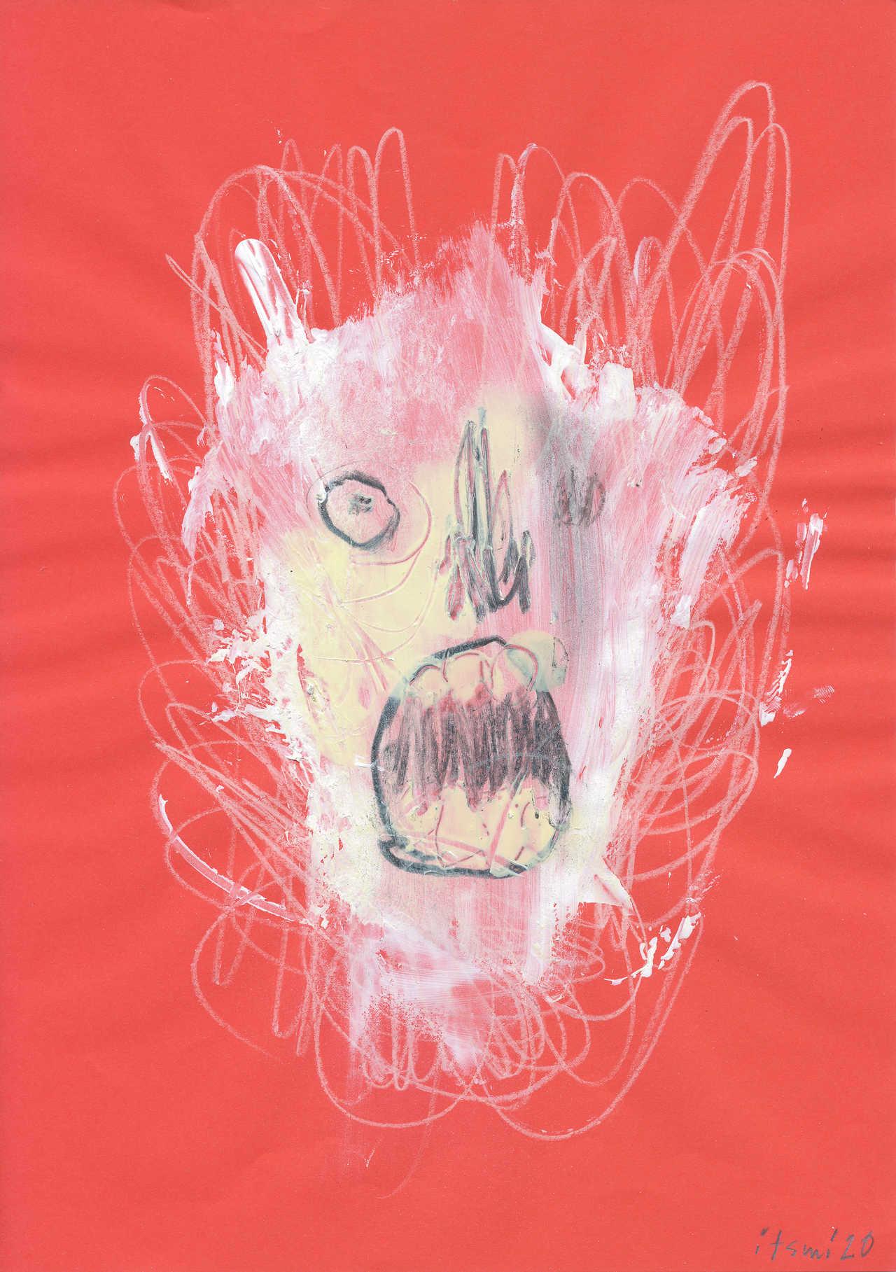 Quarantina II, 2020, ακρυλικό, spray, ξυλομπογιά και μολύβι σε χαρτί, 29,5Χ21 εκ.