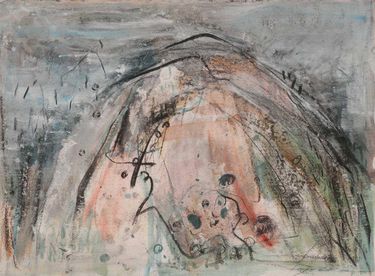 Χωρίς τίτλο, 2004 (;), κάρβουνο και χρώμα σε χαρτί, 56Χ76 εκ.