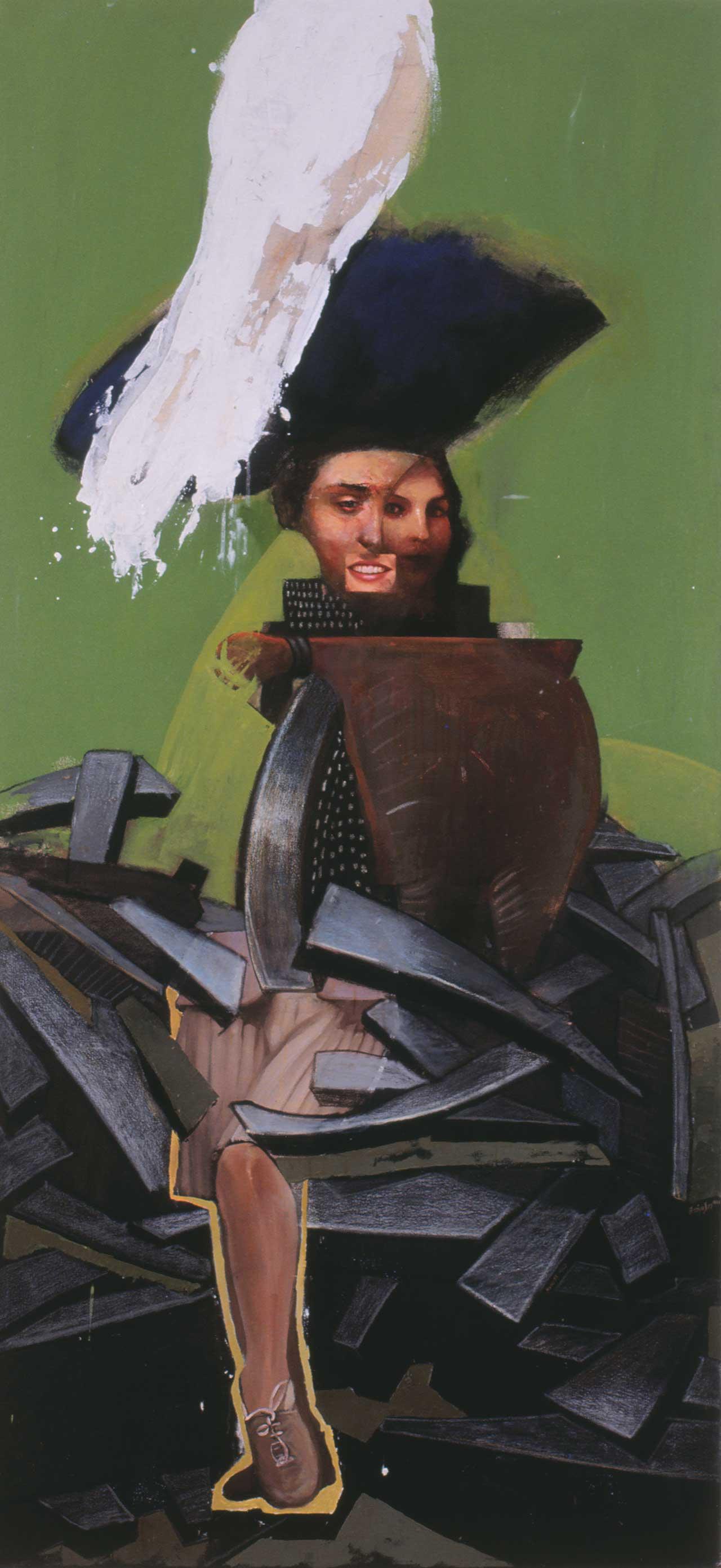 Δεσποινίς Κ, 1999, λάδι , ακρυλικά και παστέλ σε καμβά, 190x90 εκ.