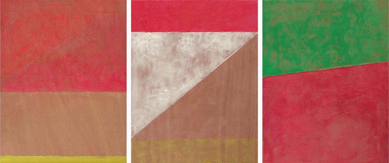 Άτιτλο (Blinky Palermo series), 2014, εγκαυστική σε ξύλο, τρίπτυχο, 27Χ21 εκ. το καθένα