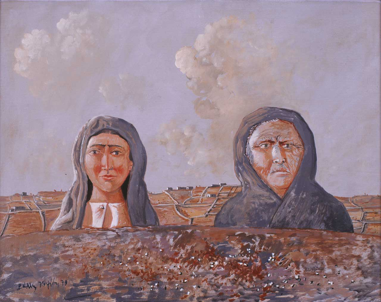 Δύο γυναίκες, 1979, λάδι σε ξύλο, 32x40 εκ.