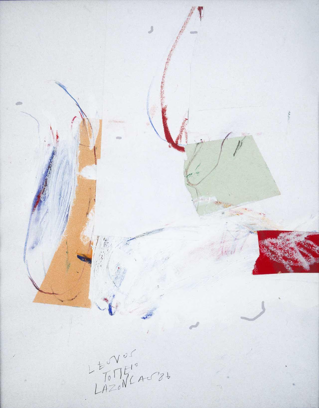 Λέσβος, Τοπίο, 1986, σχέδιο/κολάζ, 29x22,5 εκ.