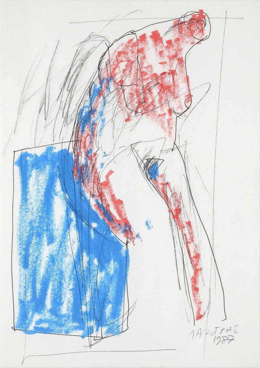 Κόκκινη φιγούρα, 1987, σχέδιο, 29x21 εκ.