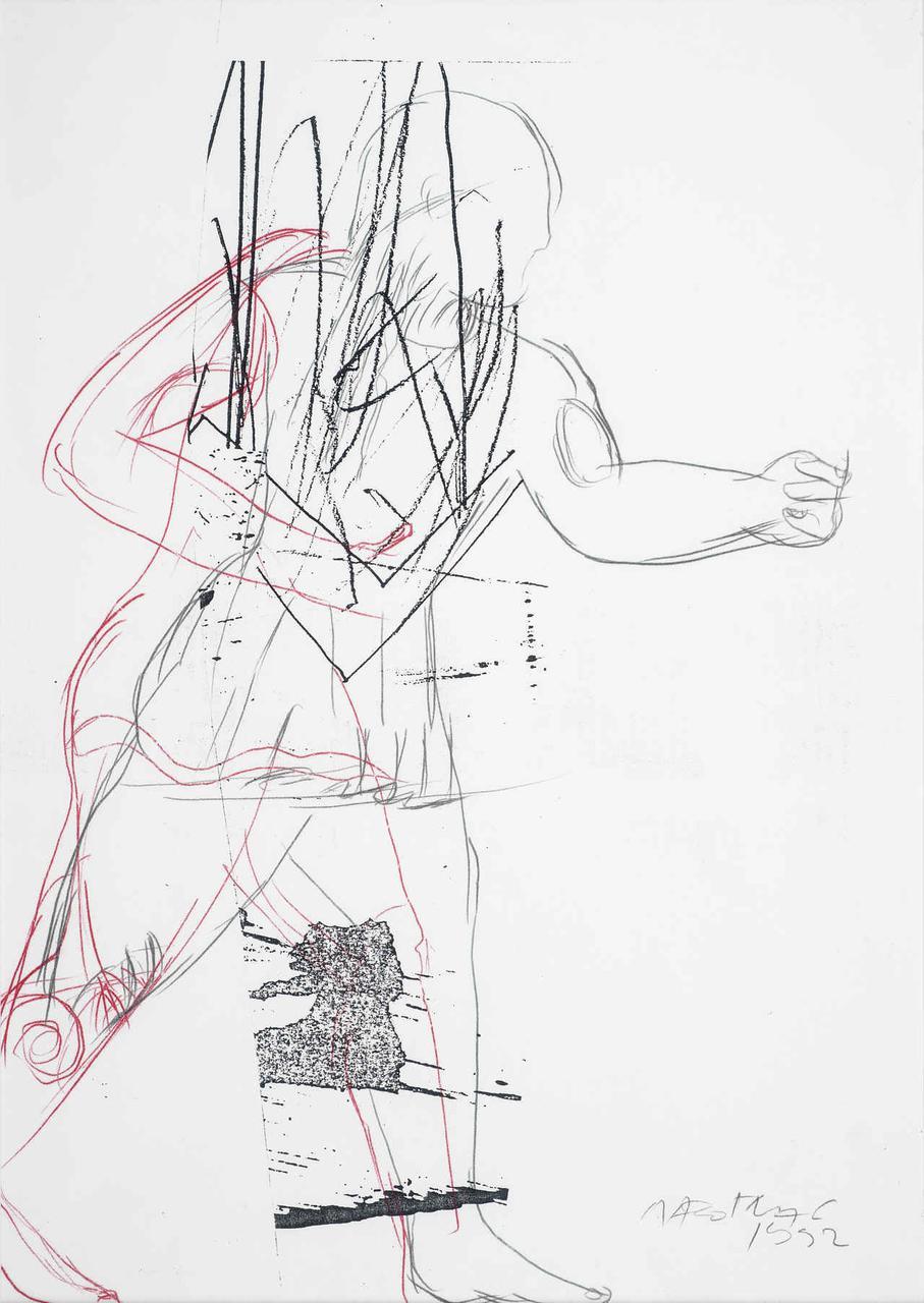 Πολεμιστής, 1992, σχέδιο (κόκκινο/μαύρο), 29x21 εκ.