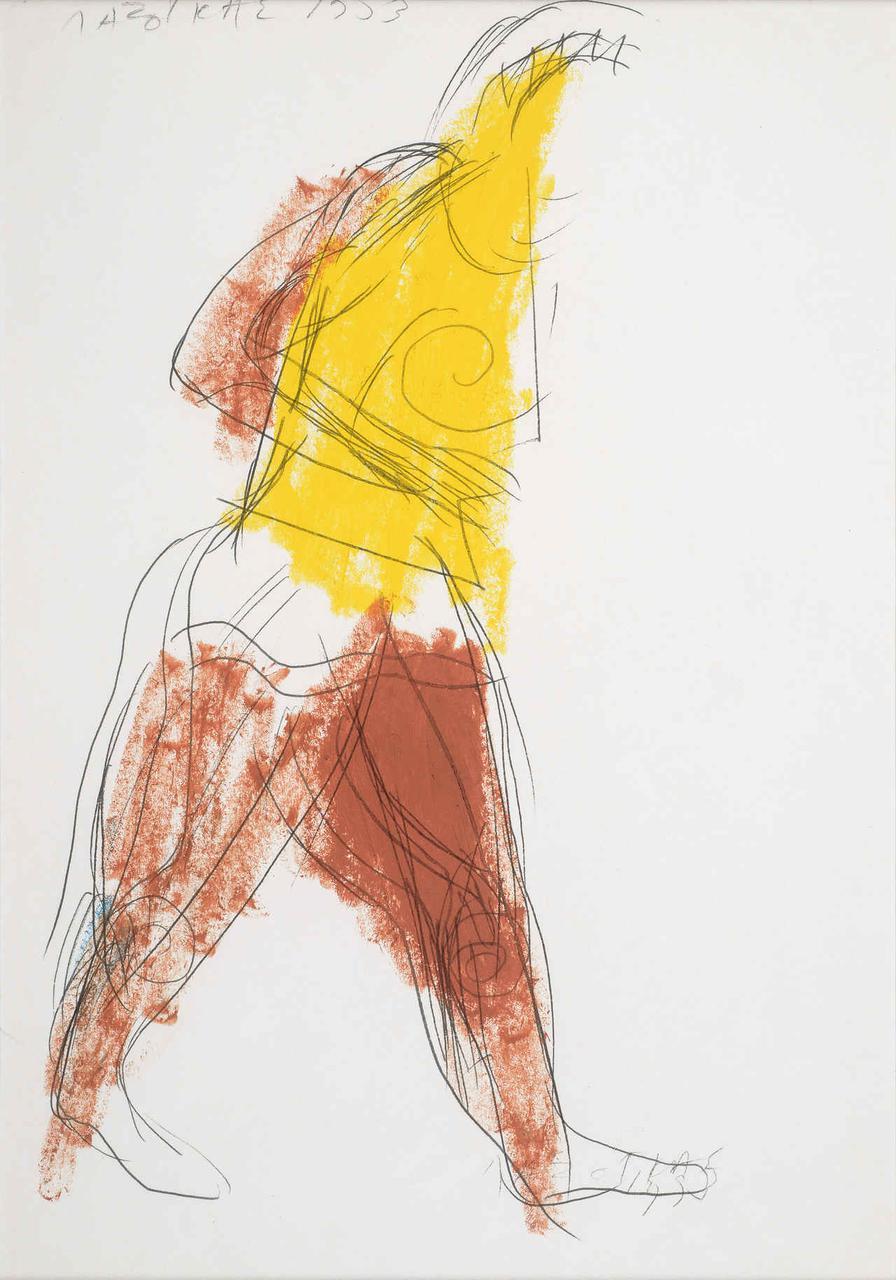 Πολεμιστής, 1993, σχέδιο (κίτρινο/καφέ), 29x21 εκ.