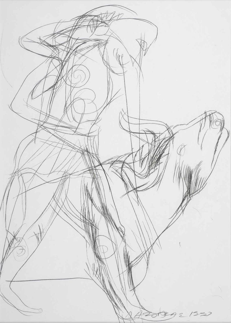 Πολεμιστής και ταύρος, 1993, 29x21 εκ.