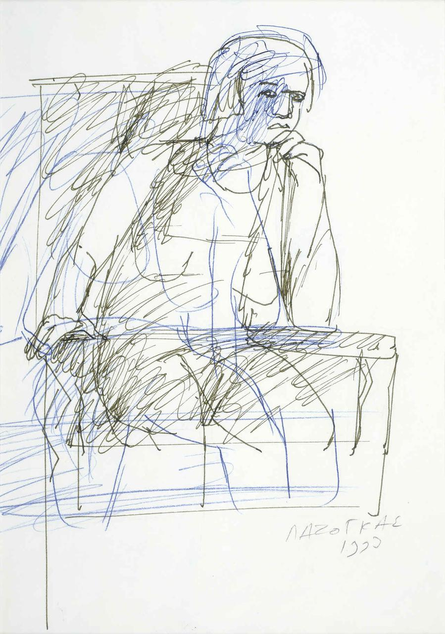 Καθιστή γυναίκα, 1993, σχέδιο (μπλε/μαύρο), 29x21 εκ.