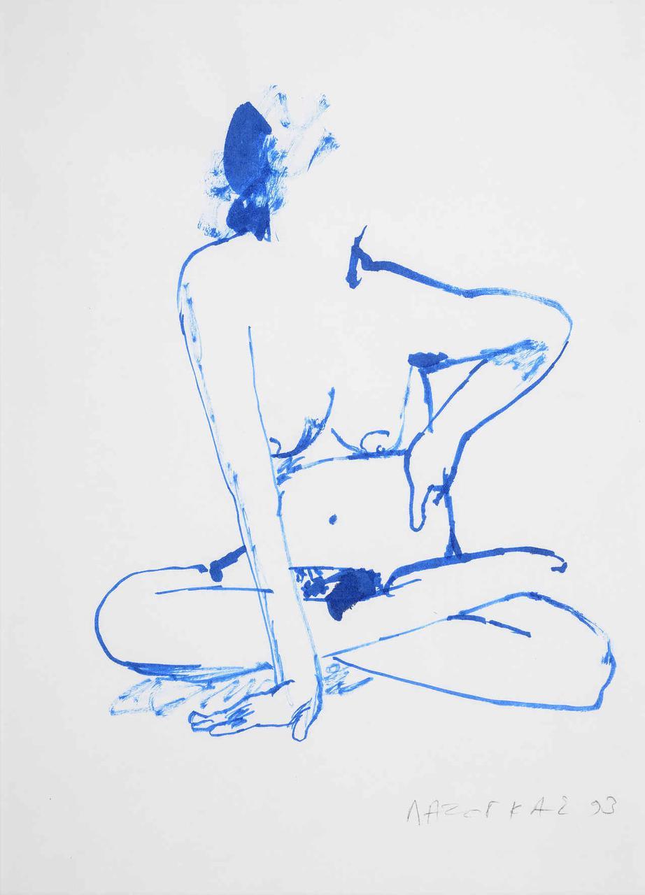 Καθιστή γυναίκα, 1993, σχέδιο (μπλε), 29x21 εκ.