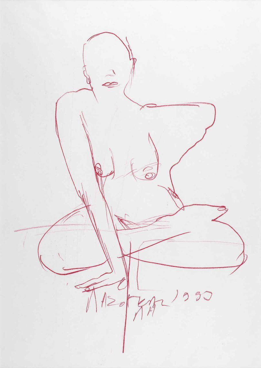 Καθιστή γυναίκα, 1993, σχέδιο (κόκκινο), 29x21 εκ.