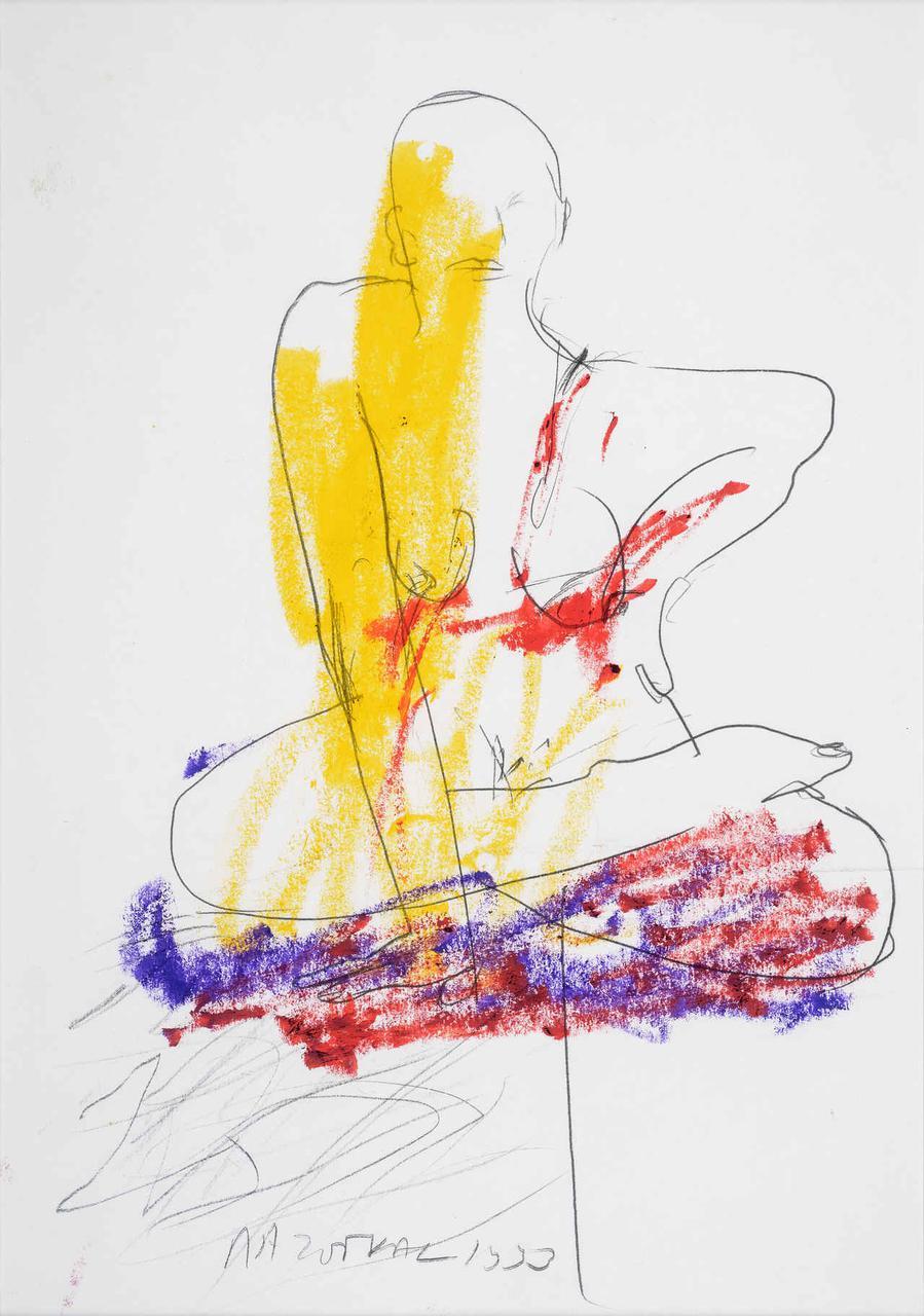Καθιστή γυναίκα, 1993, σχέδιο (κίτρινο/κόκκινο/μωβ), 29x21 εκ