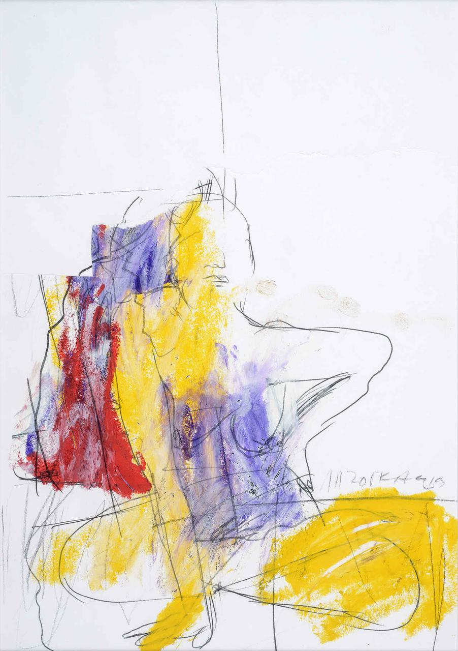Καθιστή γυναίκα, 1993, σχέδιο/κολάζ (κίτρινο/κόκκινο/μωβ), 29x21 εκ