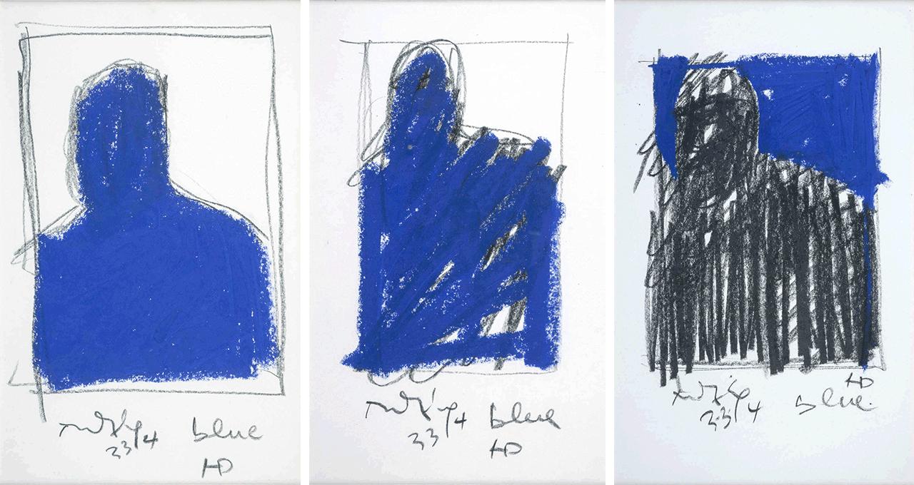 Blue, τρίπτυχο, 3.3.94, σχέδια, 21x13 εκ. το καθένα