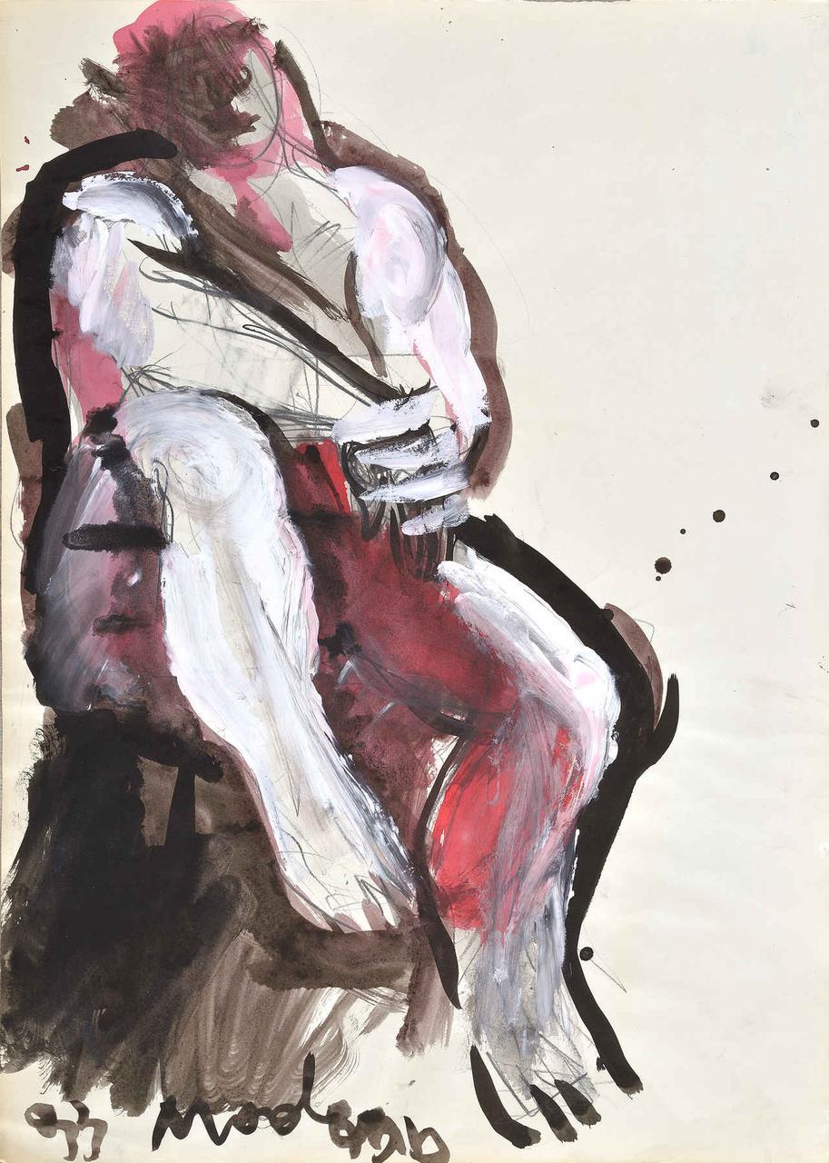 Καθιστός άνδρας, 1993, ακρυλικό σε χαρτί, 60x42 εκ.