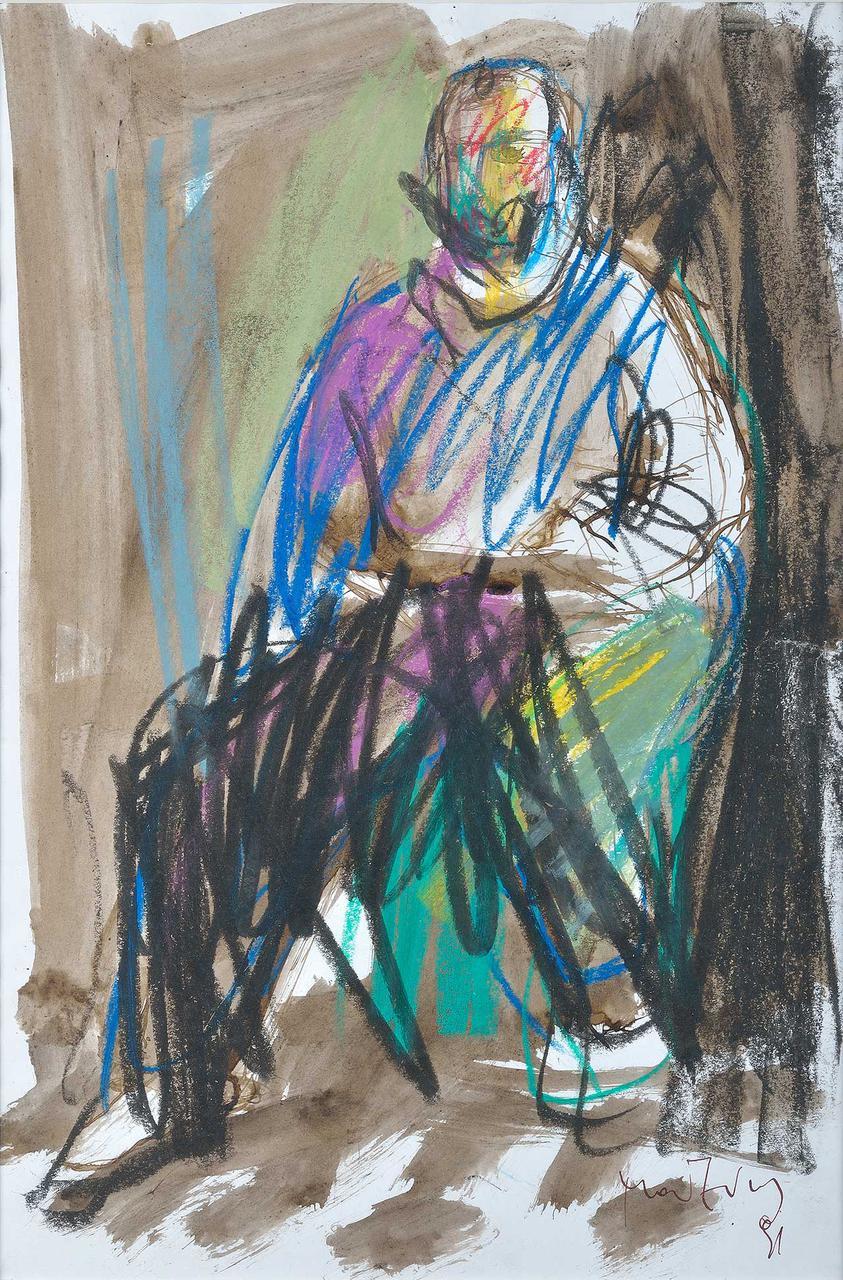 Καθιστός άνδρας, 1991, σχέδιο, 37,5x25 εκ.