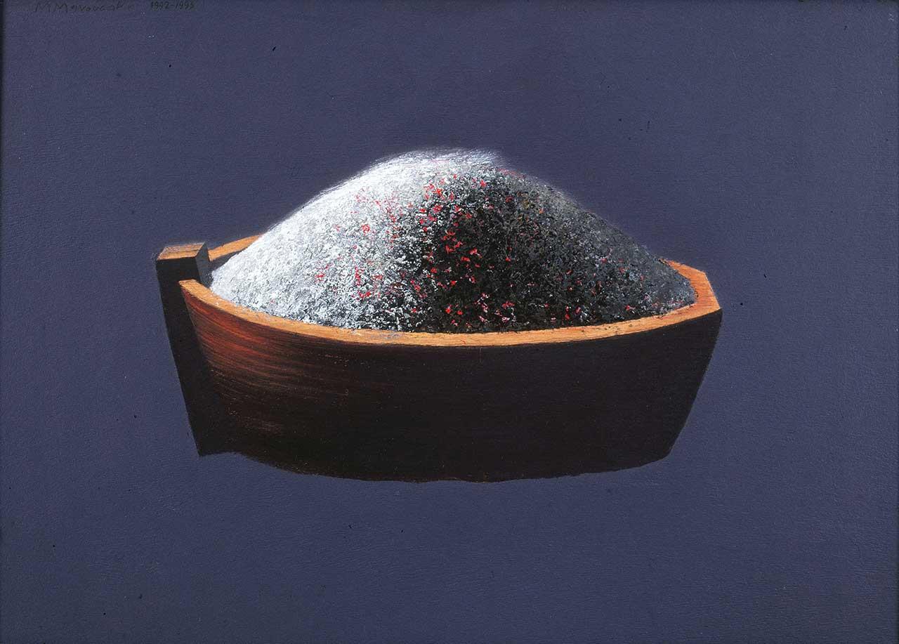 Βάρκα, 1992-93, ακρυλικό και κάρβουνο σε ξύλο, 50x70 εκ.