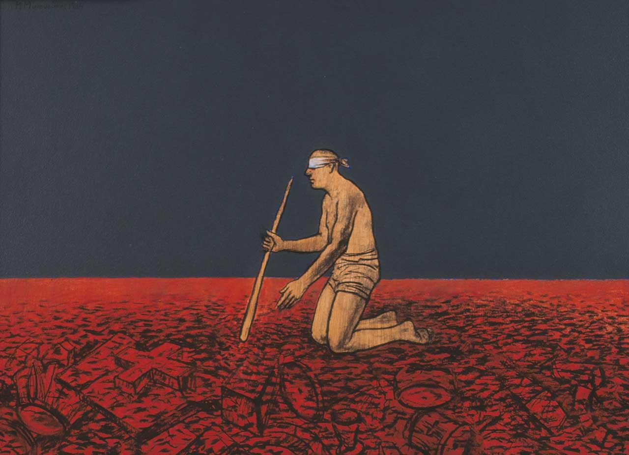 Ραβδοσκόπος, 1994, ακρυλικό σε ξύλο, 50x70 εκ.