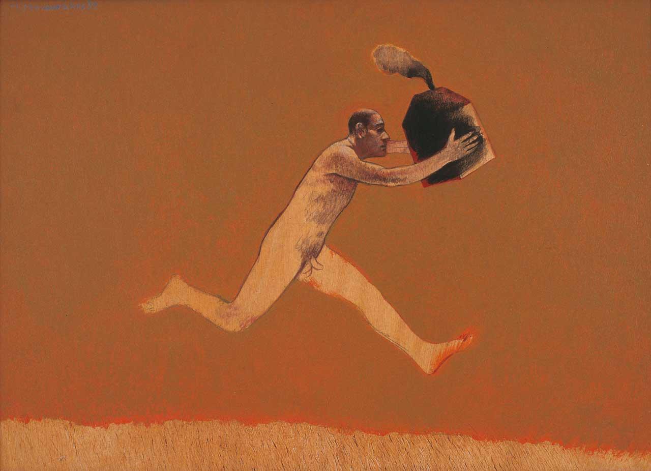Γυμνός άνδρας με σπίτι, 1992, ακρυλικό, κάρβουνο σε ξύλο, 50x70 εκ.