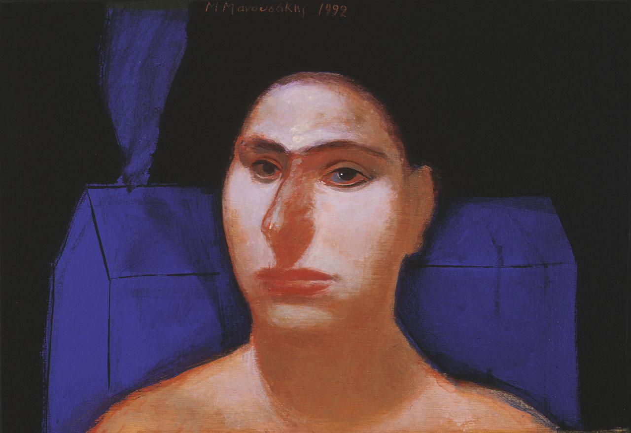 Γυναίκα με μπλε σπίτι, 1992, ακρυλικό σε ξύλο, 30x40 εκ.