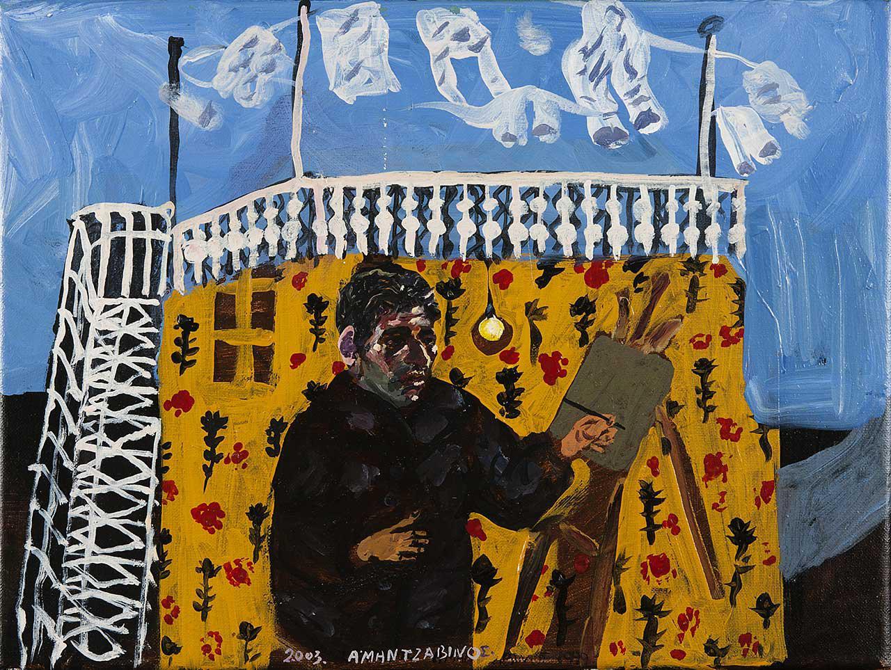 Αριστερόχειρας ζωγράφος, 2003, λάδι σε καμβά, 30x40 εκ.