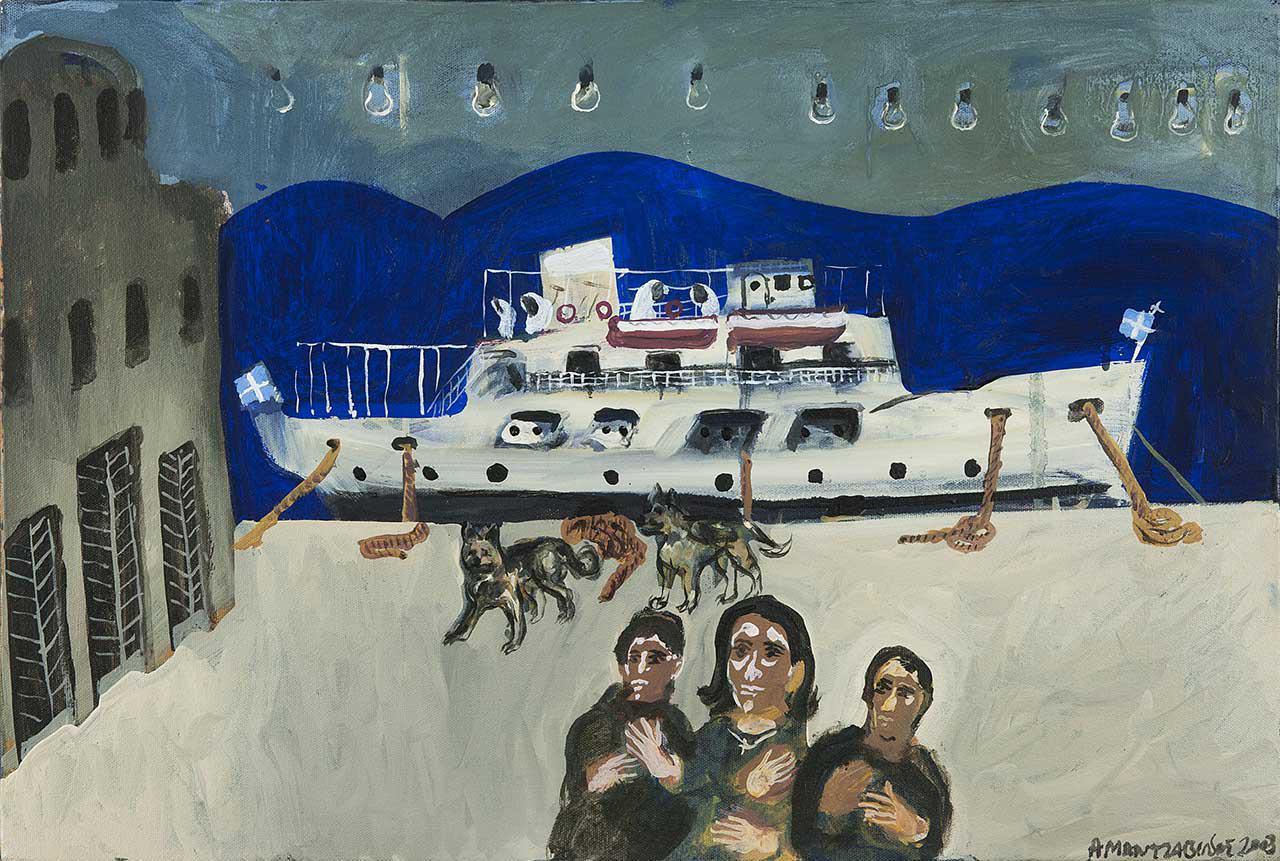 Τα τρία αδέλφια στο λιμάνι, 2003, λάδι σε καμβά, 40x60 εκ.