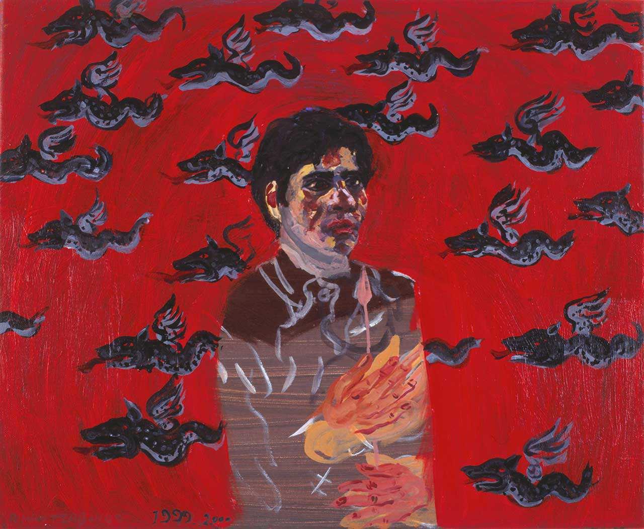 Ο ζωγράφος και 22 φτερωτοί δράκοι, 1999-2000, λάδι σε καμβά, 45x55 εκ.