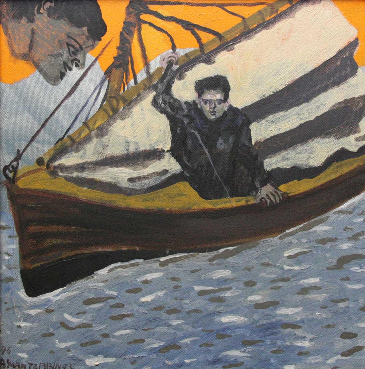 Με την βάρκα, 1996, λάδι σε καμβά, 30x30 εκ.