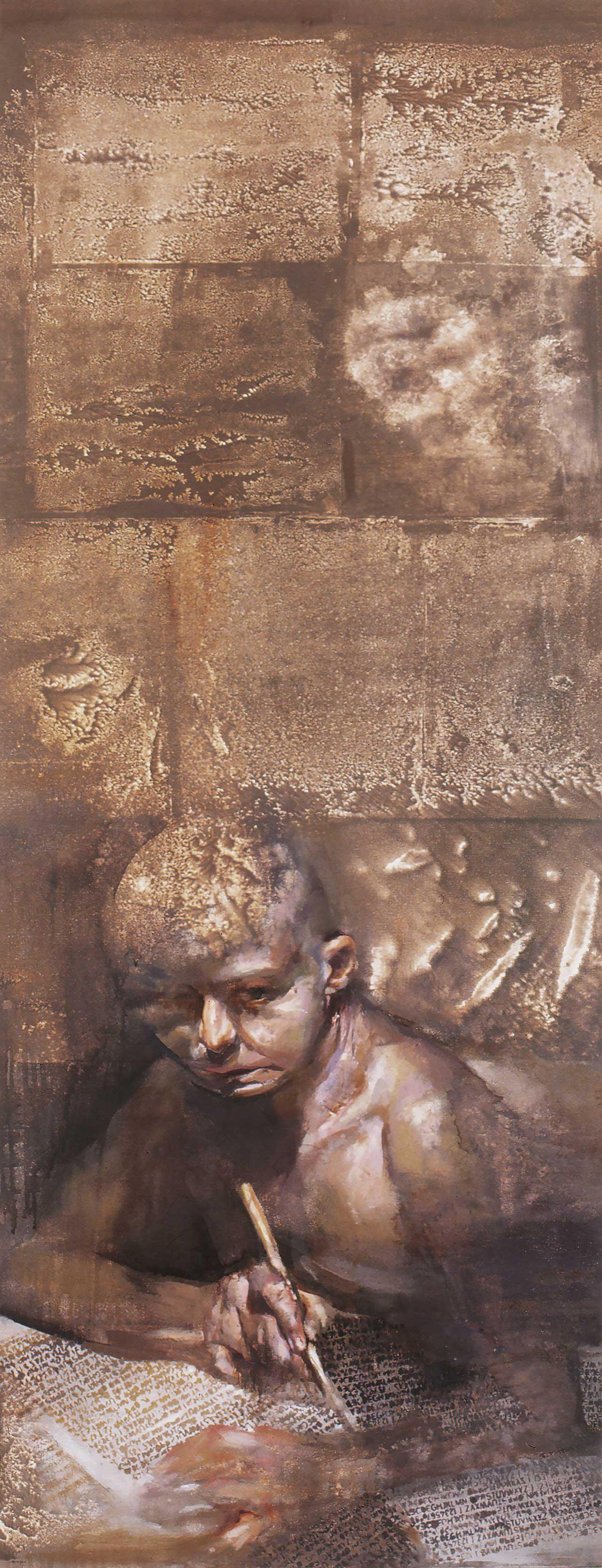 Ο Γραφέας (μέρος του τρίπτυχου: Ο Αφηγητής, Ο Χρόνος, Ο Γραφέας), 1995, λάδι σε καμβά, 150x60 εκ.