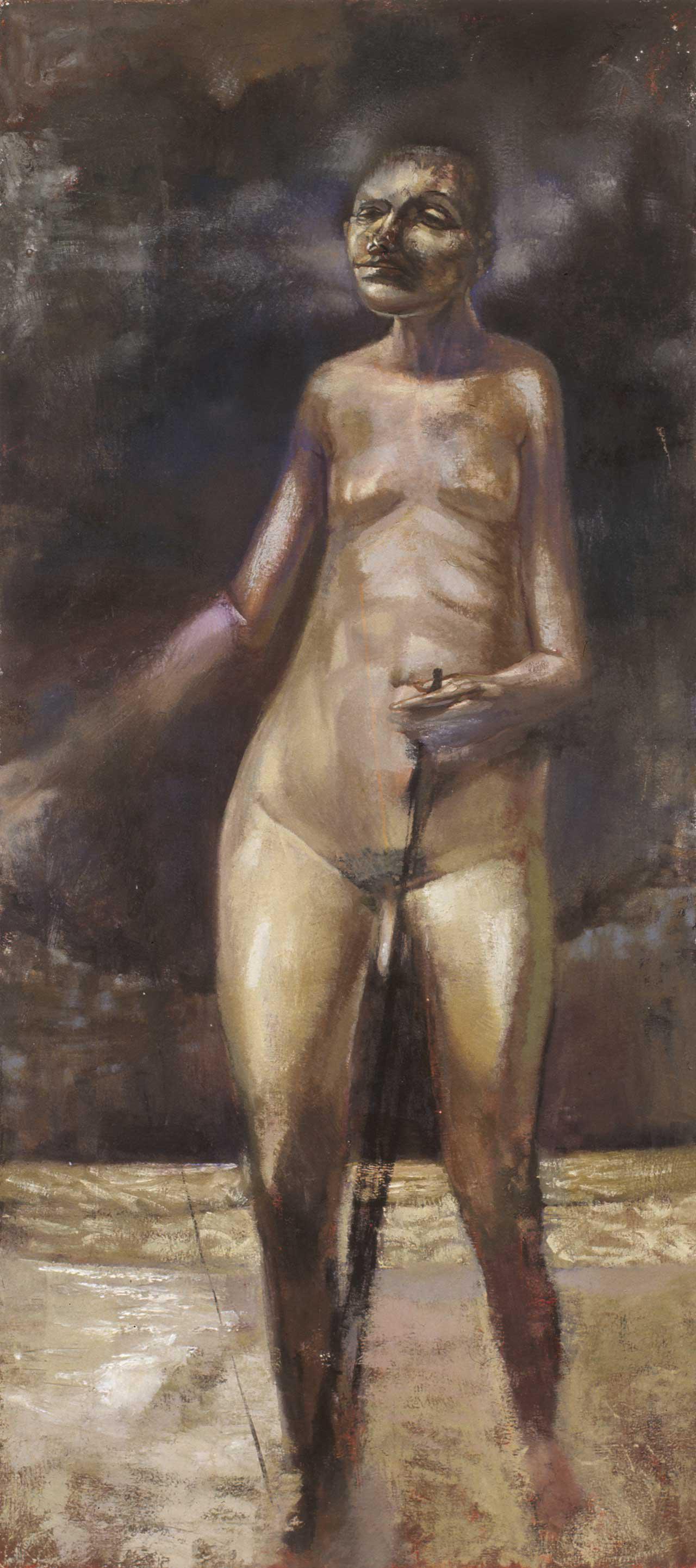 Στεατοπυγής νέος, 1994, λάδι σε καμβά, 135x60 εκ.