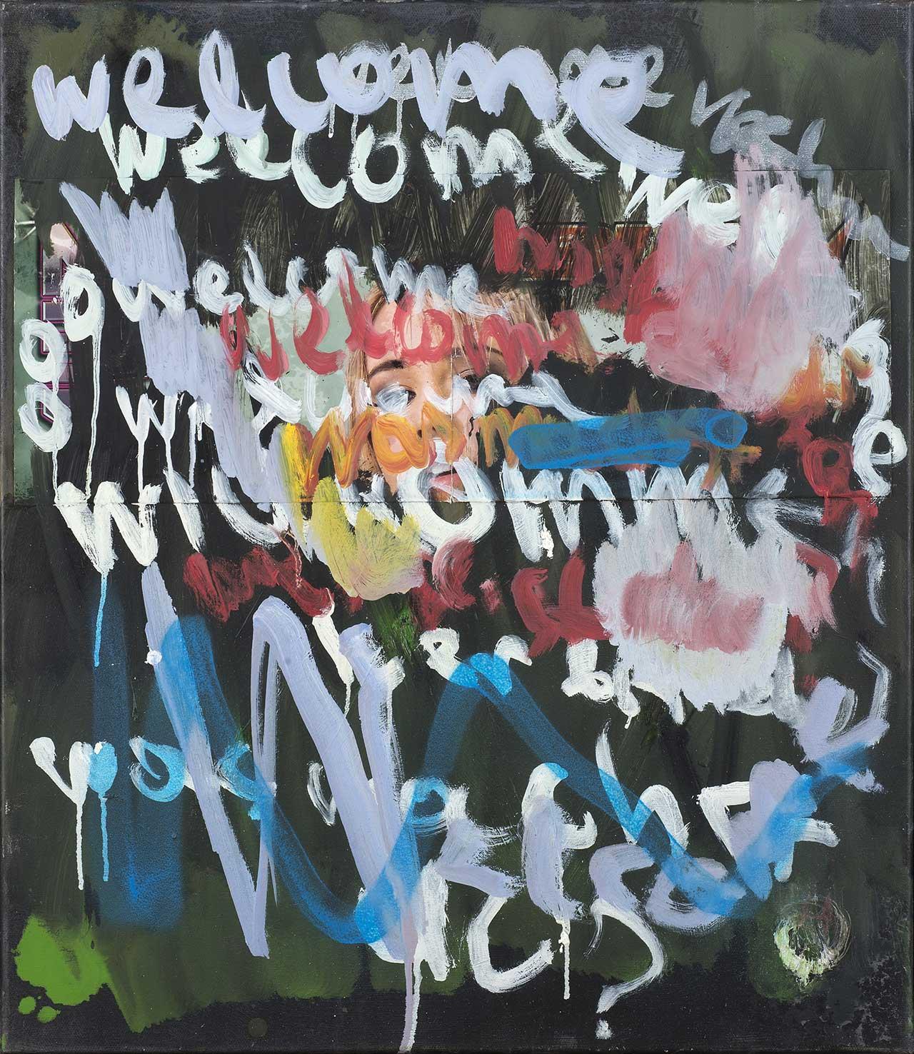 Welcome, 2012, λάδι σε καμβά, κολάζ, σπρέι, 70x60 εκ.