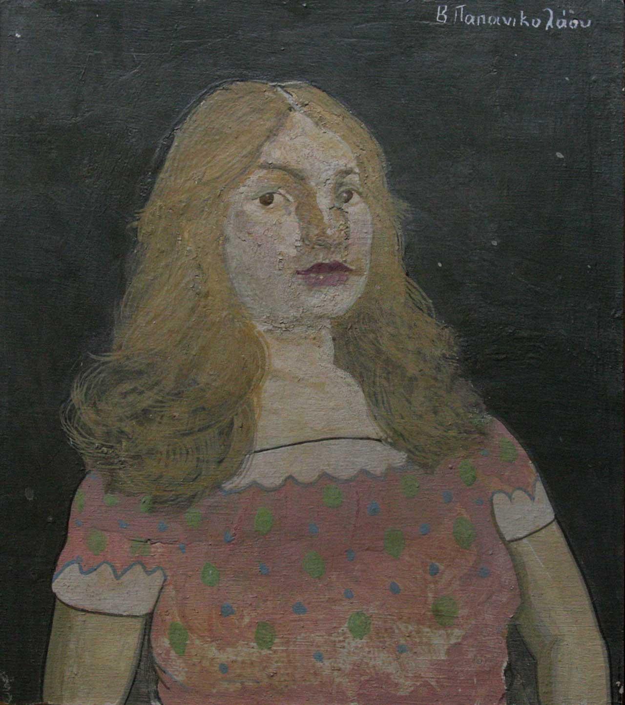 Γυναίκα της οδού Αχαρνών, 2005, αυγοτέμπερα σε ξύλο, 25x22 εκ.