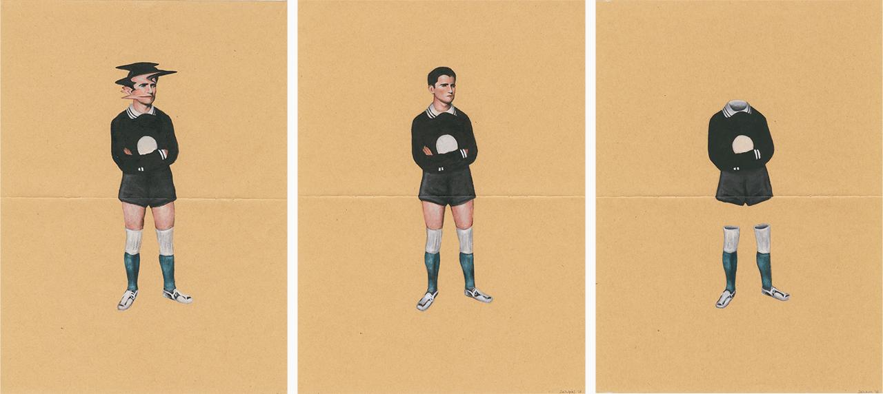 My father (the goalkeeper), 2016, ακρυλικό σε χαρτί, τρίπτυχο, 29Χ21 εκ. το καθένα