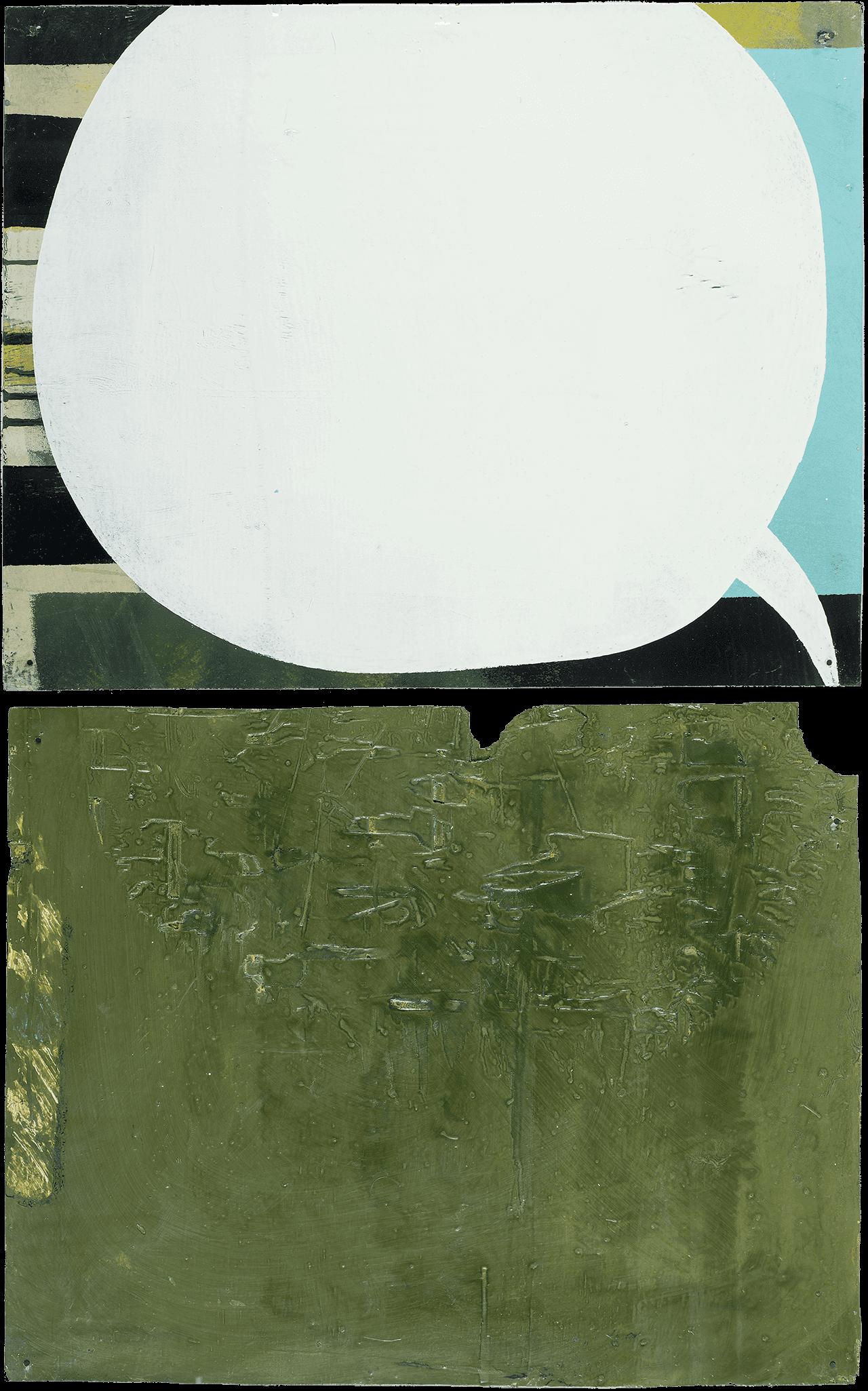 Bubble in the 'Listening Room', 2017, λαδομπογιά σε ξύλινα πάνελ, 40x50 εκ. το καθένα.