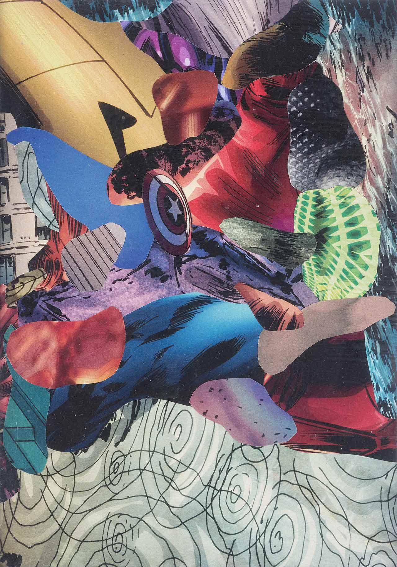 Άτιτλο (από τη σειρά Captain America vs Red Skull), 2012, Κολάζ σε χαρτί, 14x10 εκ.