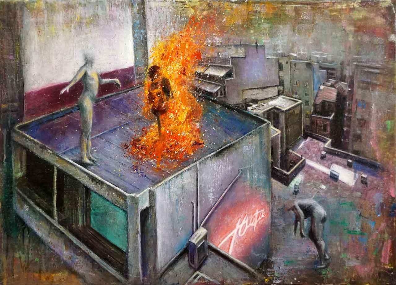 "Study for ""Jacobins"", 2018, λάδι σε καμβά, 50 x 70 εκ."
