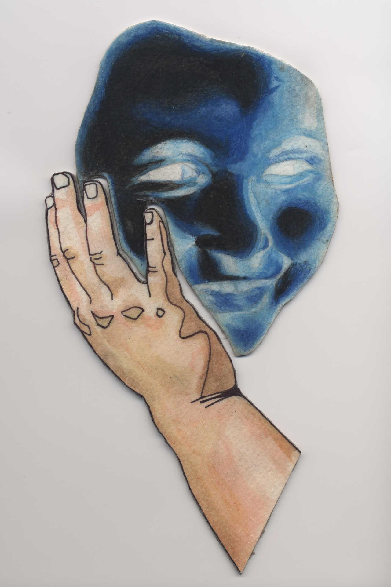 Μπλε πρόσωπο, 2020, κατασκευή από χαρτόνι, 2 τεμάχια, 25Χ16 εκ..