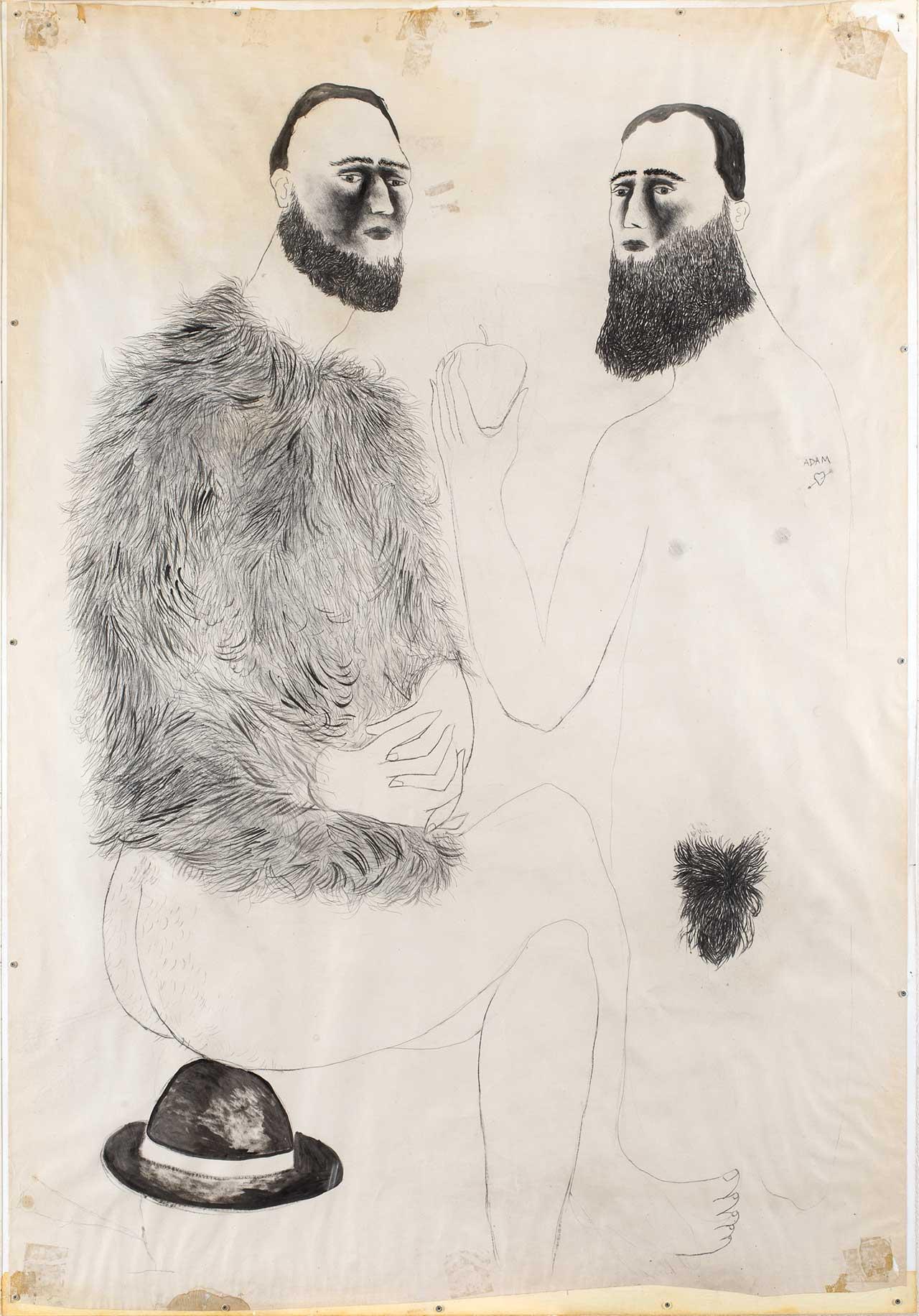 Αδάμ και Εύα, 2002-03, κάρβουνο και λάδι σε χαρτί, 145x100 εκ.