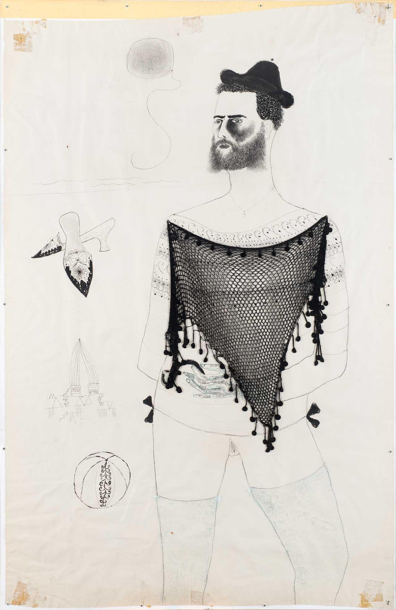 Άτιτλο, 2002-03, κάρβουνο, λάδι, κολάζ σε χαρτί, 160x100 εκ.