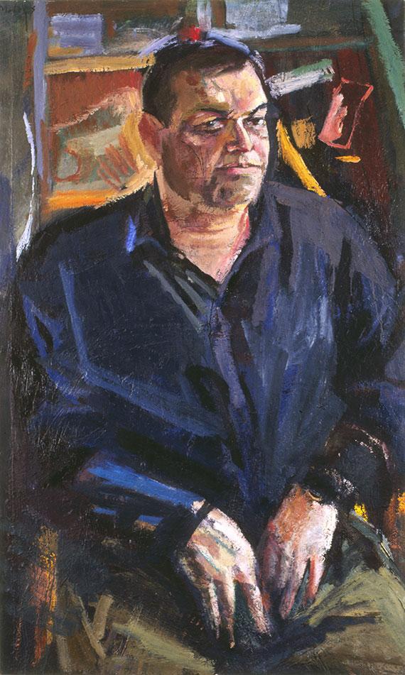 Ο Συλλέκτης, Μιχάλης Μαδένης, Χρίστος Χ., 2001, λάδι σε καμβά, 140x85 εκ.